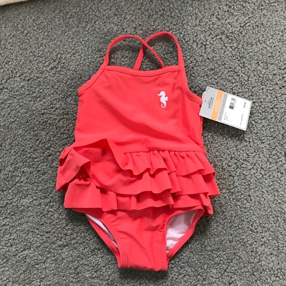 Baby Girl/'s CARTERS 1 Piece Cute Coral Ruffle Swimsuit 9 Months Brand New